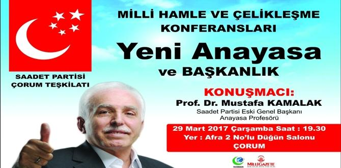 Mustafa Kamalak Çorum'a Geliyor