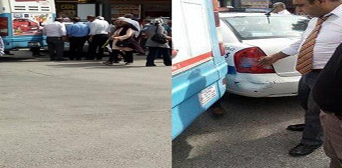 Halk Otobüsü Polis Otosuna Çarptı