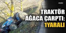 Traktör Ağaca Çarptı. 1 Yaralı