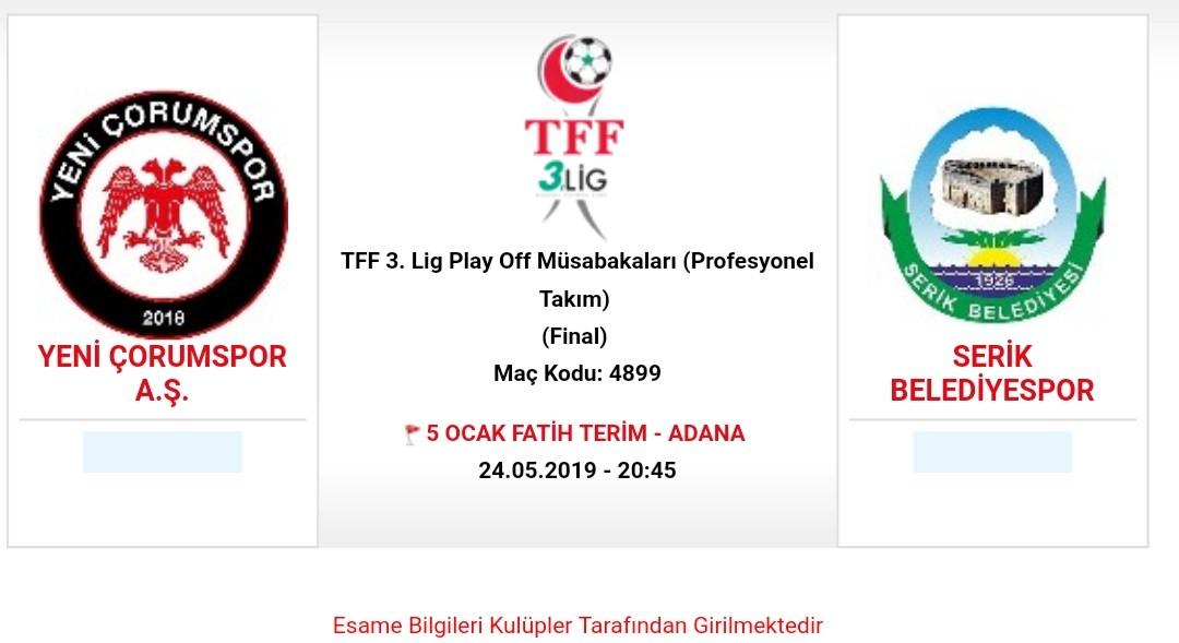 Şampiyonluk Maçı Adana'da