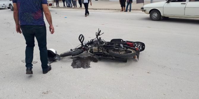 Motosiklet Sürücüsü Yağışlı Havada Kaza Yaptı