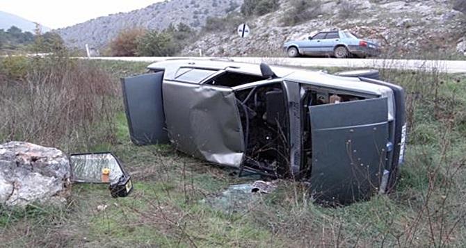 Virajı Alamayan Otomobil Devrildi : 2 Kişi Ağır Yaralı