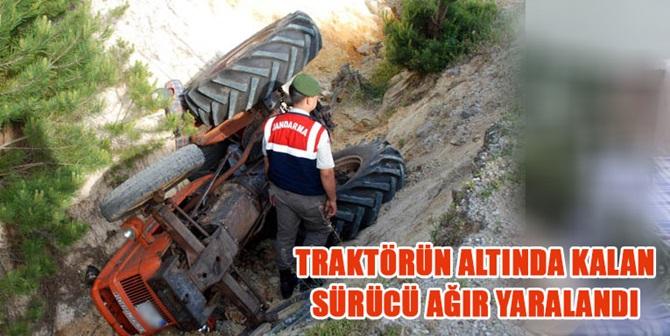 Traktör Şarampole Devrildi: 1 Ağır Yaralı