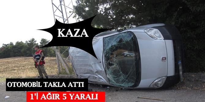 Otomobil Takla Attı : 1'i Ağır 5 Yaralı